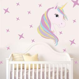 Beautiful  Horse Stars Wall Decals For Kids Girls Room Diy