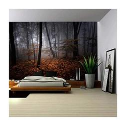 wall26 - Beautiful View of an Autumn Misted Forest - Wall Mu