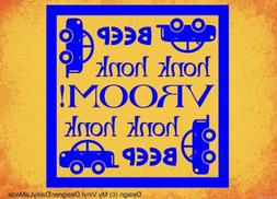 BEEP VROOM HONK car theme vinyl wall art sticker words boy n