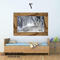 Bengal Tiger White Siberian Tiger Window View Decal WALL STI