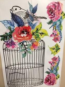 BIRD CAGE wall stickers 5 big decals birdcage flowers room d