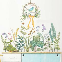 Birds Grass Leaves Removable Wall Stickers Kid Nursery Decal