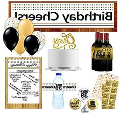 39th Birthday Party Decoration Kit w. Gold Plates Napkins Cu