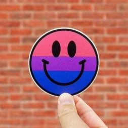 Bisexual Pride Smiley Face Sticker, Includes Two  Stickers,