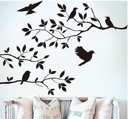 BLACK BIRD TREE BRANCH Wall Stickers Decal Removable Home De