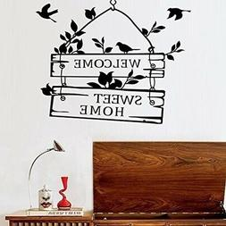 BIBITIME Black Birds Wall Decal Sticker Sayings Quote Welcom