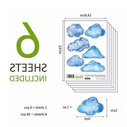 36 Pieces Blue Clouds Wall Decals Removable Cloud Wall Stick