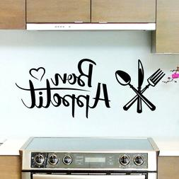 Bon Appetit French Quote Cook Art Wall Sticker Decal | Kitch