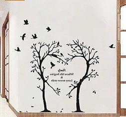 Boodecal Nature Series Heart Tree Quote Wall Decal Mural Sti