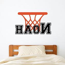 Custom Name Basketball Sports Wall Decal - Boys Girls Person