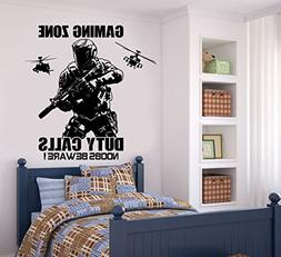 Boys Room Gaming Zone Wall Sticker Art Removable Game Call o