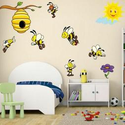 Cartoon Animal Wall Sticker Bee Decal Girls Kids Room Bedroo