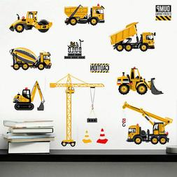 Cartoon Excavator Construction Wall Decals Boy Nursery Kids