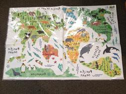 Amaonm Cartoon Forest Animals With World Map Removable Wall