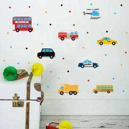 Cartoon Transport Vehicles Cars Taxi Wall Sticker Decal For