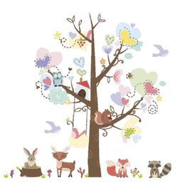 Amaonm Cartoon Tree Wall Sticker Animals Wall Decal Removabl