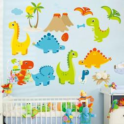 Cartoon Wall Stickers For Kids Rooms Little Dinosaur Wall De