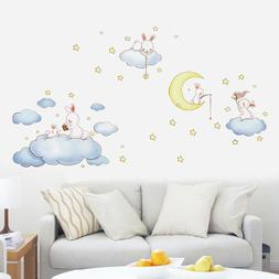 Cartoon White Clouds Rabbit Wall Stickers For Kids Rooms Bab