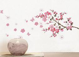 BIBITIME Cherry Blooms Tree Wall Decor Decal Stickers Japane