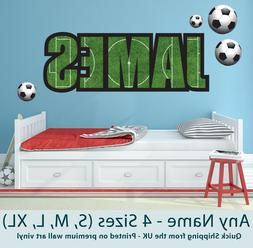 Childrens Name Wall Stickers Art Personalised Football for B