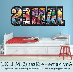Childrens Name Wall Stickers Art Personalised Graffiti for B