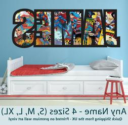 Childrens Name Wall Stickers Art Personalised Superman Comic