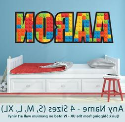 Childrens Name Wall Stickers Personalised Lego  - Perfect fo