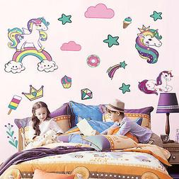 Colorful Animals Horse Star Wall Decals For Kids Girls Room