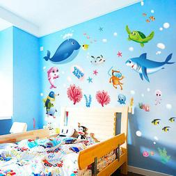 Colorful Fish Shark Ocean Wall Stickers Vinyl Decals Funny M
