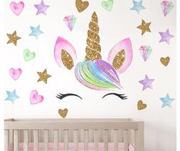 Colorful Flower Animal Unicorn Wall Sticker 3D Art Child Roo
