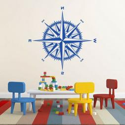 Compass Rose Vinyl Wall/Ceiling Decal - fits nautical themed