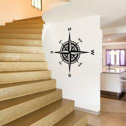 Compass Rose Vinyl Wall or Ceiling Decal nautical art themed
