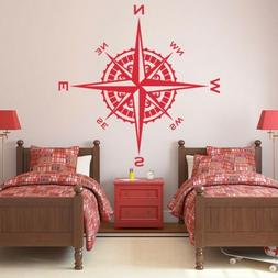 Compass Rose Vinyl Wall or Ceiling Decal nautical themed kid