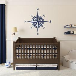 Compass Rose Vinyl Wall or Ceiling Decal nautical themed nur