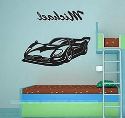 Cool Personalised Name Boy Bedroom Wall Stickers Race Car Bl