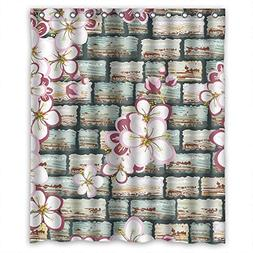 Custom Design Easy Clean Wall Shower Curtain, Width X Height