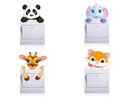 Cute Animal Switch Wall Sticker For Kids Baby Nursery Bedroo