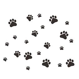 WINOMO Cute Dog Wall Sticker Dog Paw Prints Removable DIY Ar