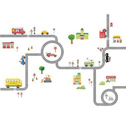 Decowall DA-1404 The Road and Cars Kids Wall Decals Wall Sti