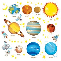 Decowall DAT-1307L Planets in the Space Kids Wall Stickers W