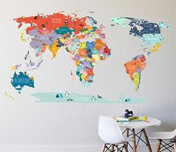 Wall Decal - World Map interactive map - Wall Sticker Room D