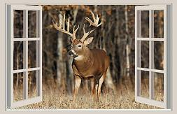 Deer & Forest Window View Repositionable Color Wall Sticker