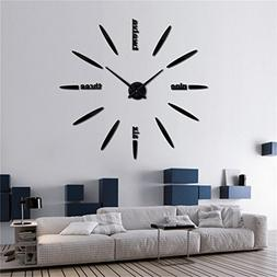 DIY 3D Wall Clock Modern Large Home Decor Sticker Frameless