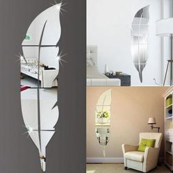 LTUI DIY Removable Feather Mirror Wall Stickers Decal Art Vi