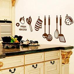 PHOTNO DIY Removable Happy Kitchen Wall Decal Vinyl Home Dec