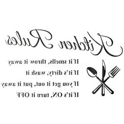 """23.6"""" 3D DIY Wall Sticker Kitchen Rules Removable Quote Home"""