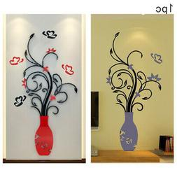 DIY Vase Flower Tree Crystal Acrylic 3D Wall Stickers Decal