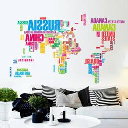 DIY Wall Sticker World Map USA Country Name Decor Art Mural