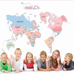 Kids Learning Colorful World Map Removable Vinyl Room Wall S