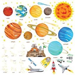 Decowall DW-1501S The Solar System Kids Wall Stickers Wall D